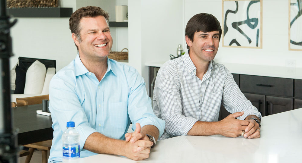 Grant Zinkon and Adam Baslow, Co-Founders of New Leaf Builders at Kitchen Counter